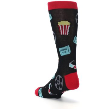 Image of Movie Theater Reel & Popcorn Men's Dress Socks (side-2-back-15)