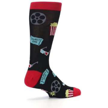 Image of Movie Theater Reel & Popcorn Men's Dress Socks (side-1-23)