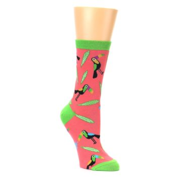 salmon and lime tropical bird crew socks by Sock it to Me