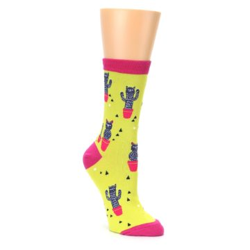 Green and pink neon cat cactus socks from sock it to me