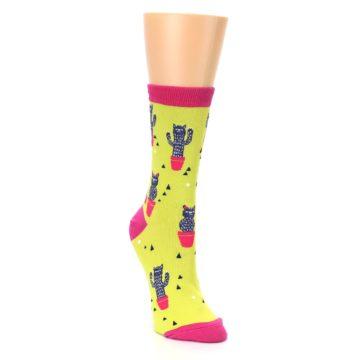 Image of Neon Cat Cactus Women's Dress Sock (side-1-front-02)