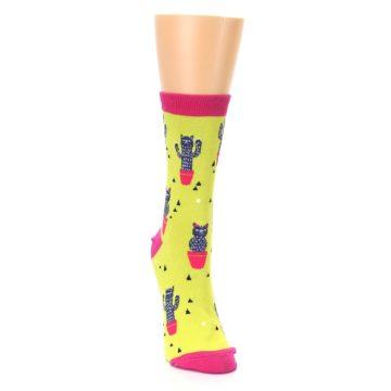 Image of Neon Cat Cactus Women's Dress Sock (side-1-front-03)