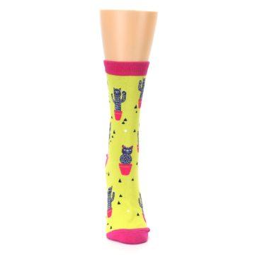 Image of Neon Cat Cactus Women's Dress Sock (front-04)
