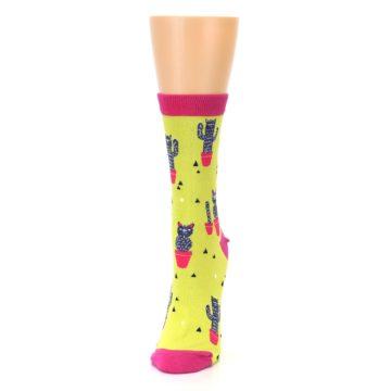 Image of Neon Cat Cactus Women's Dress Sock (side-2-front-06)