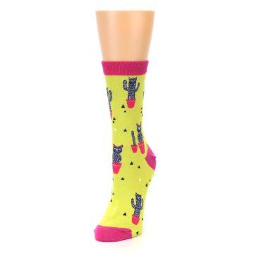 Image of Neon Cat Cactus Women's Dress Sock (side-2-front-07)