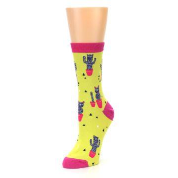 Image of Neon Cat Cactus Women's Dress Sock (side-2-front-08)