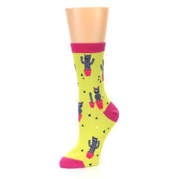 Image of Neon Cat Cactus Women's Dress Sock (side-2-09)