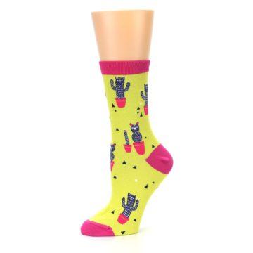 Image of Neon Cat Cactus Women's Dress Sock (side-2-10)