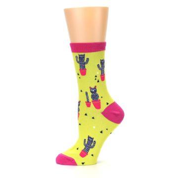 Image of Neon Cat Cactus Women's Dress Sock (side-2-11)