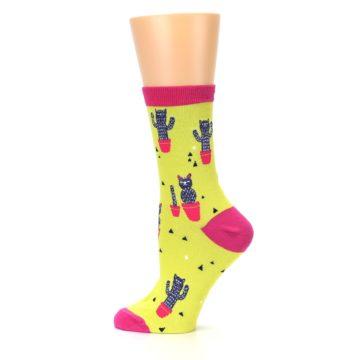 Image of Neon Cat Cactus Women's Dress Sock (side-2-12)