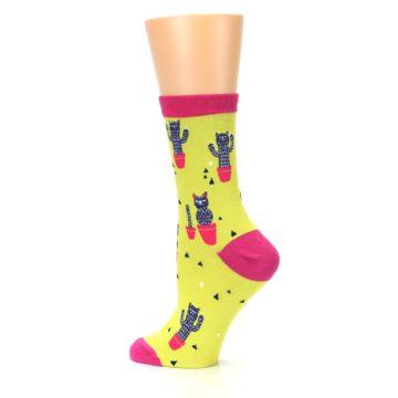 Image of Neon Cat Cactus Women's Dress Sock (side-2-13)