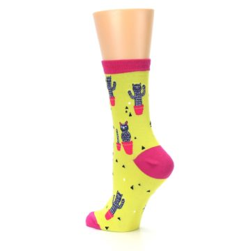 Image of Neon Cat Cactus Women's Dress Sock (side-2-back-14)