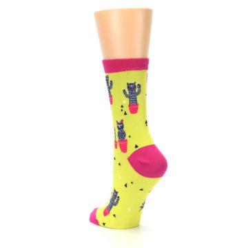 Image of Neon Cat Cactus Women's Dress Sock (side-2-back-15)