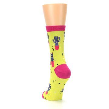 Image of Neon Cat Cactus Women's Dress Sock (side-2-back-16)