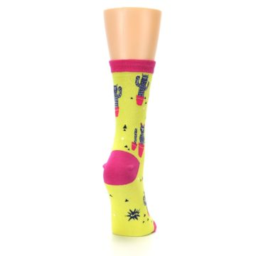 Image of Neon Cat Cactus Women's Dress Sock (side-1-back-20)