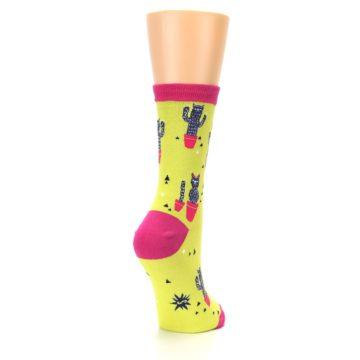 Image of Neon Cat Cactus Women's Dress Sock (side-1-back-21)