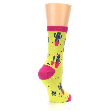 Image of Neon Cat Cactus Women's Dress Sock (side-1-back-22)