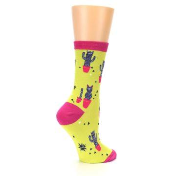 Image of Neon Cat Cactus Women's Dress Sock (side-1-23)