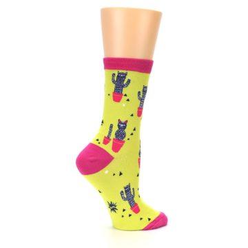 Image of Neon Cat Cactus Women's Dress Sock (side-1-24)