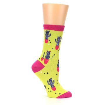 Image of Neon Cat Cactus Women's Dress Sock (side-1-25)