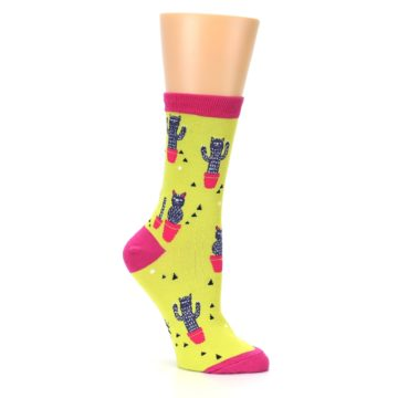 Image of Neon Cat Cactus Women's Dress Sock (side-1-26)