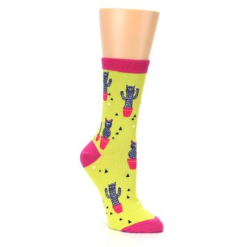 Image of Neon Cat Cactus Women's Dress Sock (side-1-27)