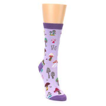 Image of Purple Fun Guys Mushrooms Women's Dress Sock (side-1-front-02)