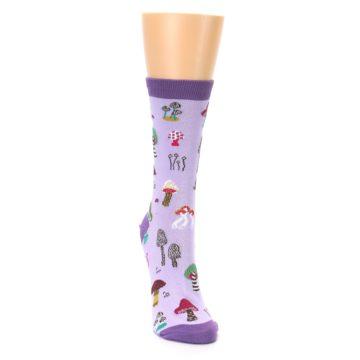 Image of Purple Fun Guys Mushrooms Women's Dress Sock (side-1-front-03)