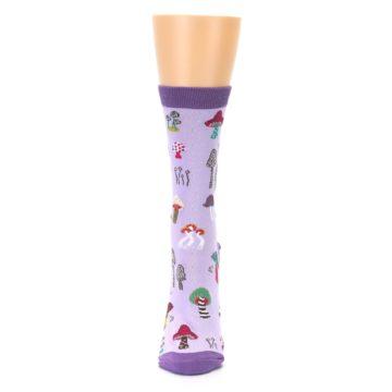 Image of Purple Fun Guys Mushrooms Women's Dress Sock (front-05)
