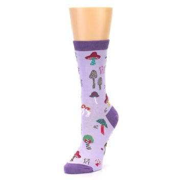 Image of Purple Fun Guys Mushrooms Women's Dress Sock (side-2-front-08)