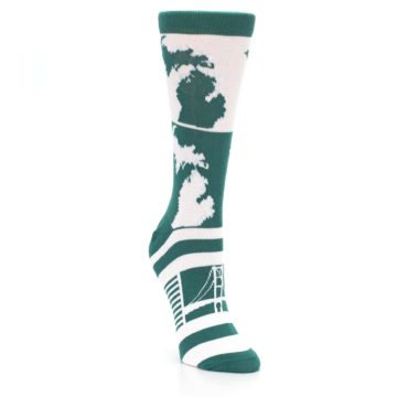 Green White Michigan Womens Dress Socks boldSOCKS