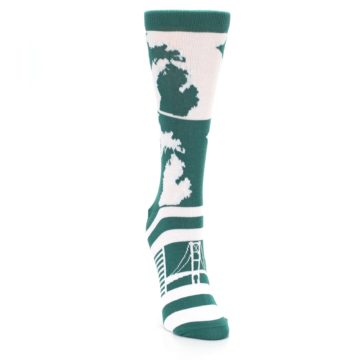 Image of Green White Michigan Women's Dress Socks (side-1-front-03)