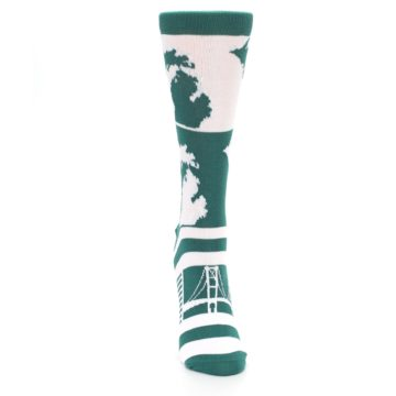 Image of Green White Michigan Women's Dress Socks (front-04)