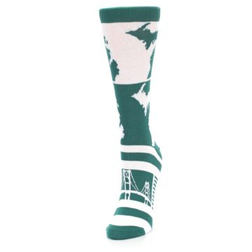 Image of Green White Michigan Women's Dress Socks (side-2-front-07)