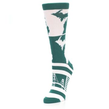 Image of Green White Michigan Women's Dress Socks (side-2-front-08)