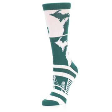 Image of Green White Michigan Women's Dress Socks (side-2-09)