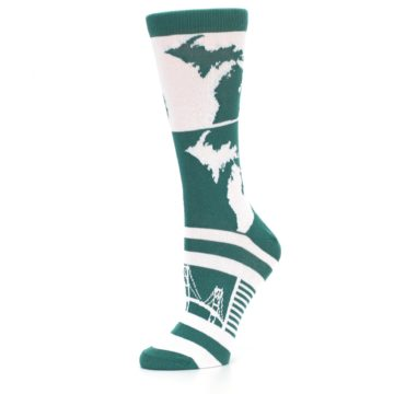 Image of Green White Michigan Women's Dress Socks (side-2-10)