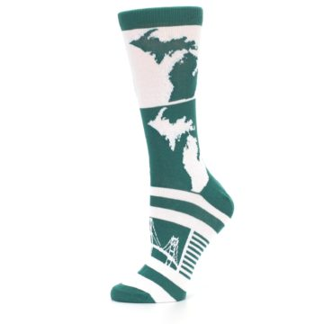 Image of Green White Michigan Women's Dress Socks (side-2-11)