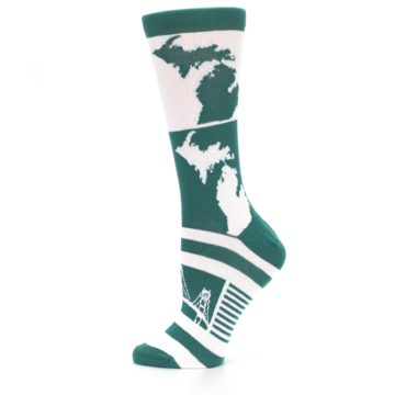 Image of Green White Michigan Women's Dress Socks (side-2-12)
