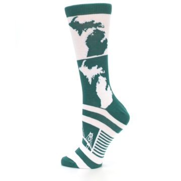 Image of Green White Michigan Women's Dress Socks (side-2-13)