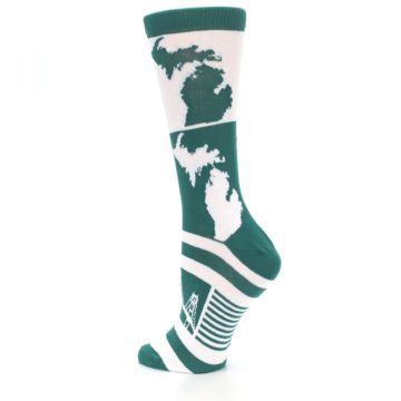 Image of Green White Michigan Women's Dress Socks (side-2-back-14)