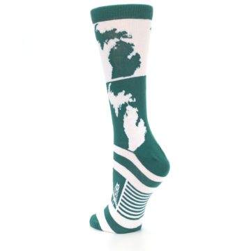 Image of Green White Michigan Women's Dress Socks (side-2-back-15)