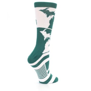 Image of Green White Michigan Women's Dress Socks (side-1-23)