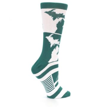 Image of Green White Michigan Women's Dress Socks (side-1-24)