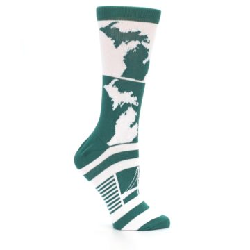 Image of Green White Michigan Women's Dress Socks (side-1-25)