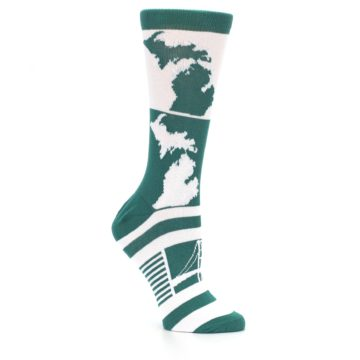 Image of Green White Michigan Women's Dress Socks (side-1-26)