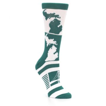 Image of Green White Michigan Women's Dress Socks (side-1-27)