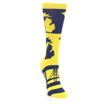 Image of Yellow Blue Michigan Women's Dress Socks (side-1-front-03)