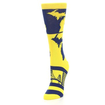 Image of Yellow Blue Michigan Women's Dress Socks (side-2-front-08)