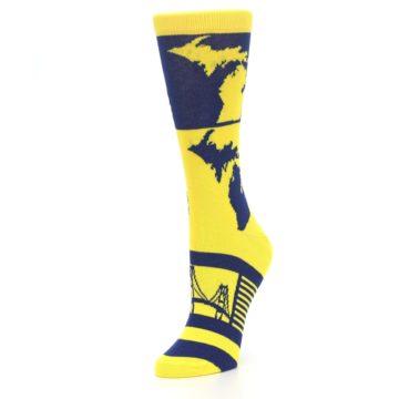 Image of Yellow Blue Michigan Women's Dress Socks (side-2-09)